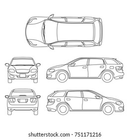 Line drawing of car white vehicle, computer art. Model of car, sketchy graphic transport car illustration