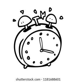 line drawing cartoon alram clock