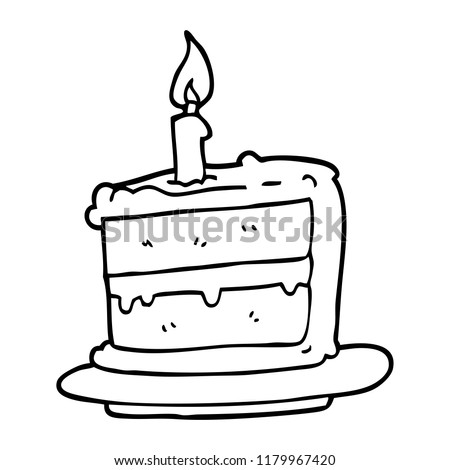 Line Drawing Cartoon Birthday Cake Stock Illustration 1179967420