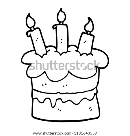 Line Drawing Cartoon Birthday Cake Illustration De Stock De