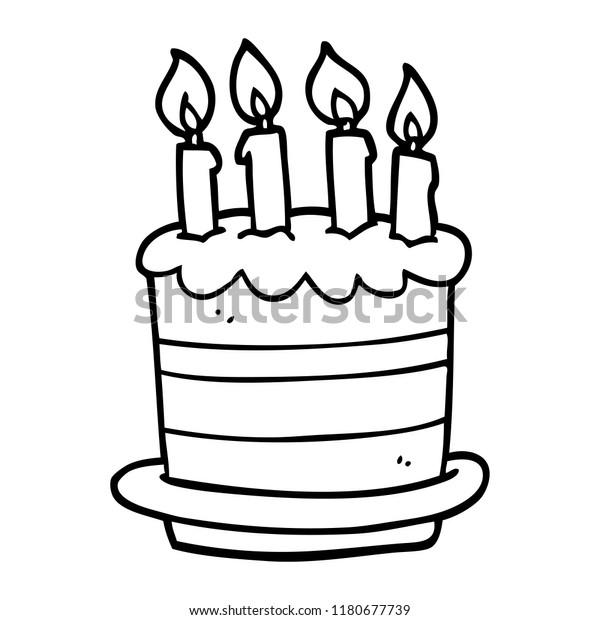 Line Drawing Cartoon Birthday Cake Stock Illustration 1180677739