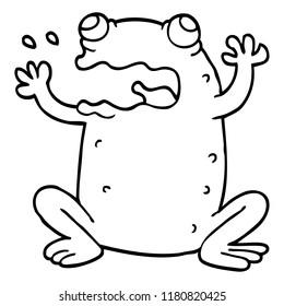 line drawing cartoon burping toad