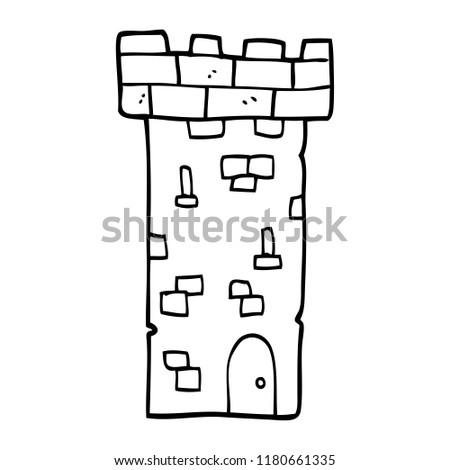 line drawing cartoon castle tower 450w 1180661335 line drawing cartoon castle tower stock illustration 1180661335