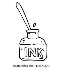 line drawing cartoon ink bottle