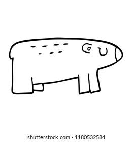 line drawing cartoon of a sleepy bear