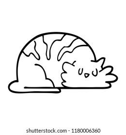 line drawing cartoon sleepy cat