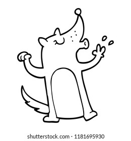 line drawing cartoon whistling wolf