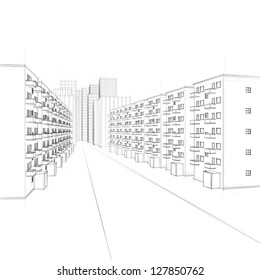 line drawing of a city with residential street