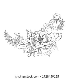 Line drawing floral composition with peonies, buds, leaves. Bouquet with hand drawn graphic flowers. Isolated on white background.