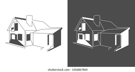 line drawing of house.Element In Trendy Style.