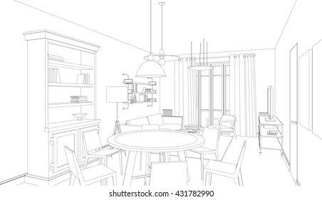 Line drawing of the interior on white background. 3d Raster version
