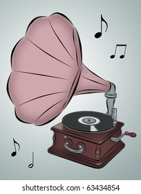 Line drawing of phonograph with musical notes.