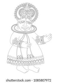 line drawing of south indian traditional kathakali dancer, raster version illustration