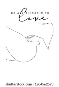 line drawn female sexy body with motivation text do all things with love