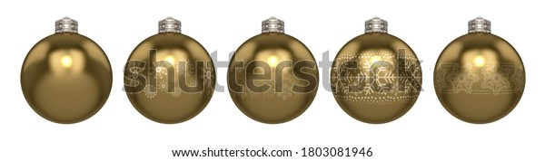 A line of gold christmas baubles decorated with different ornate snowflake patterns on an isolated white background - 3D render