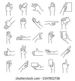 Line hand gestures. Pointing gesture, hold in hands and like icon. Handed holding, handshake or applause gesture, outline approved or swiping hand. illustration isolated symbols set