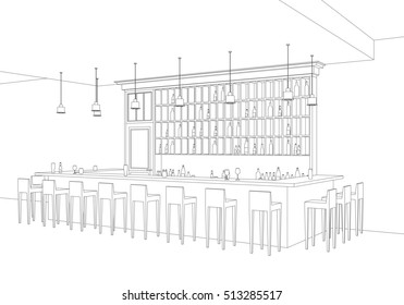 Line interior of  bar restaurant. Perspective view of interior with bar table, stools and shelves with alcohol. Raster version