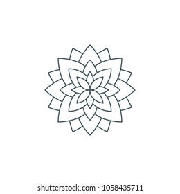 line lotus flower or flower of life. sacred geometry. mandala ornament. esoteric or spiritual symbol. isolated on white background