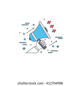 Line megaphone icon. Call to actions concept. Flat line illustration.