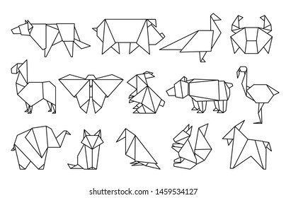 Line origami animals. Abstract polygon animals, folded paper shapes, modern japan design templates.  animal icons set