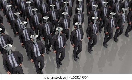 line of people with screws instead of a head, 3d illustration