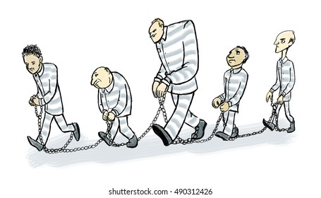 A line of prisoners walk with chains linking them together.