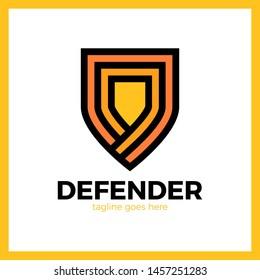 Line Shield Logotype. Three Outline Defense Logo