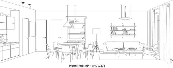 Line sketch of the interior living room. Raster version