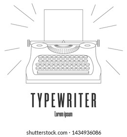 Line style icon of a typewriter machine. Logo, emblem. Journalist equipment. Vintage tehnology. Keyboard. Antique equipment. Clean and modern illustration for design, web.