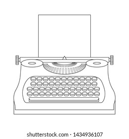 Line style icon of a typewriter machine. Journalist equipment. Vintage tehnology. Keyboard. Antique equipment. Clean and modern illustration for design, web.