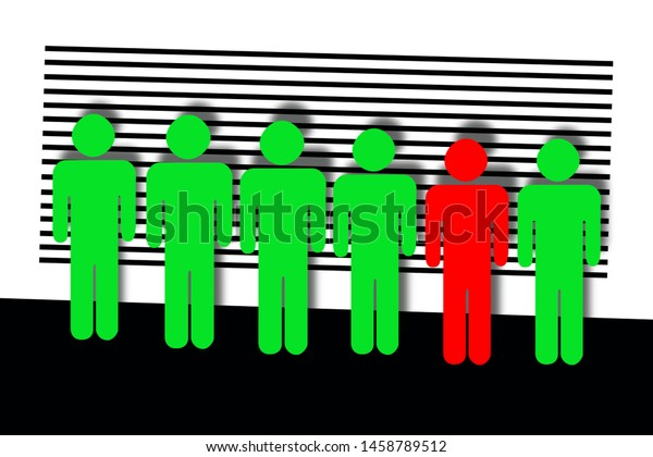 Line up of suspect criminals in order to recognize the one who committed the crime