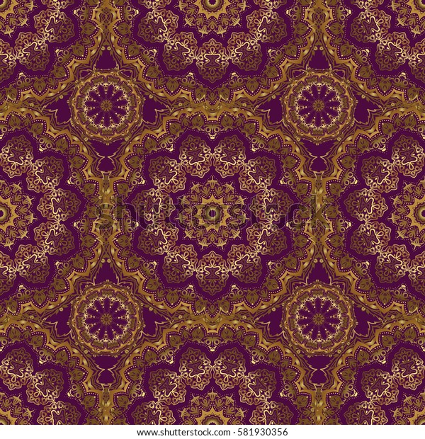 Line thai seamless pattern golden on a purple backdrop. Traditional Thailand golden background and texture with grid. Golden pattern thai silk style design for print, fabric or textile.