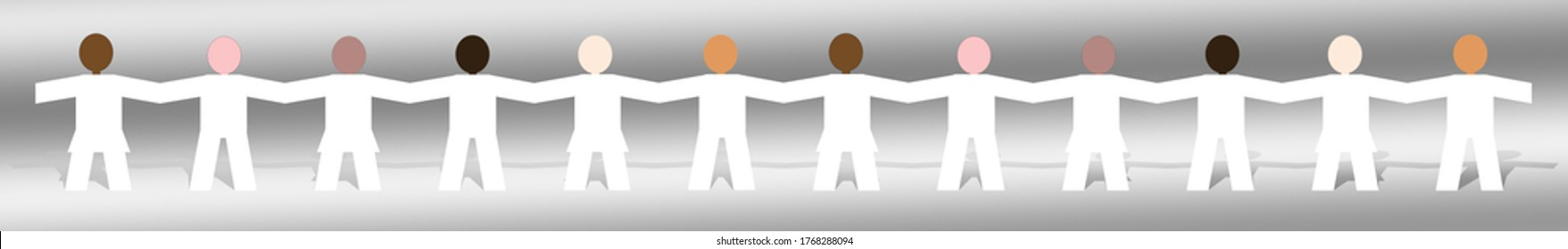 A line of twelve cut-out paper-chain figures, with white bodies and colored multicultural faces, their hands joined as a symbol of unity