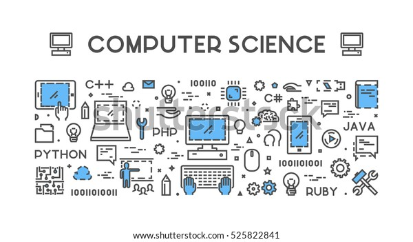 Line web concept for computer science. Banner for education.