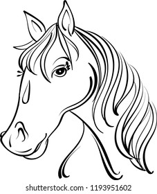 A linear black and white drawing of a horses head.