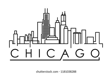 Linear Chicago City Silhouette with Typographic Design on white background