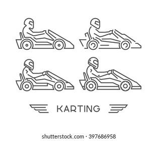 Linear go kart symbol. Figures art racer. Outline karting icons. Lline kart. Karting logo.