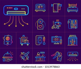 Linear icons set of hotel services. Suitable for print, website and presentation