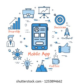 Linear Mobile Application concept. Smart phone with ui web design and user account for succesful business dealing. New technology for best start up. Web round banner on white background