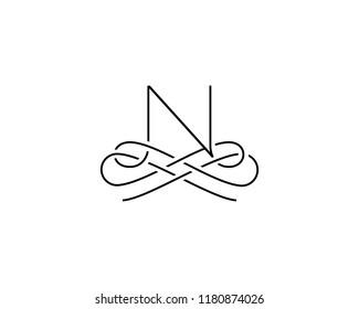 Linear monogram symbol logo. Premium letter N logotype.