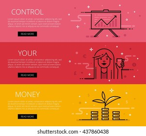 Linear personal finance web banners set. Line diagram, woman avatar with calculator, money tree and money piles. Design set of graphic outline banners illustration