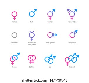 linear pink and blue icons of gender symbols and its combinations. Male, female and transgender symbols.