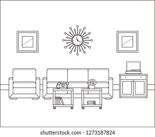 Linear room. Retro living room interior in line art. Thin line illustration in flat design. Vintage home space with sofa, armchair tables 60s. Black, white furniture. Outline sketch.