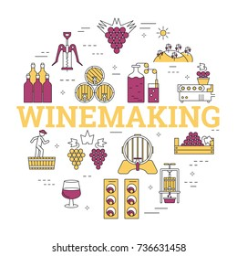 Linear round concept of viticulture, winemaking and storage of products and letters WINEMAKING. Isolated banner with outline icons in purple and yellow colors