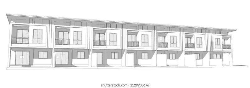 linear sketch of the front of townhome,illustration on white.
