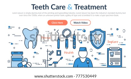 Linear Web Site Header Template Teeth Stock Illustration Royalty