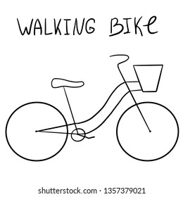 Lineart bicycle. Digital illustration one black line icon on white background. For navigation, bicycles for rent, shop bike, transport sign. With hand font text. Walking bike with a basket
