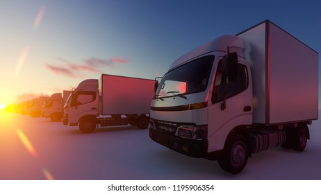 Lined up Box Trucks under a Dramatic Sun 3d rendering
