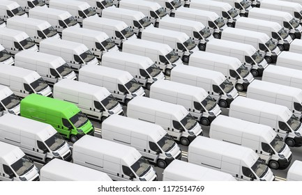 Lined up Delivery Vans in Green and White Color 3d rendering