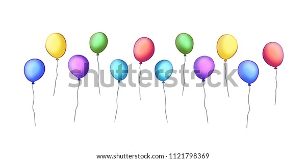 lined-up colourful party balloons illustration.